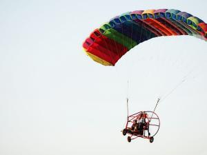 Flight in paramotor (powered paraglider)