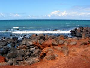 Volcanic and clayey beach