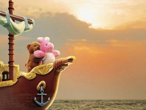"Teddies imitating a scene from the movie ""Titanic"""