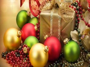 Christmas Gift and colored balls