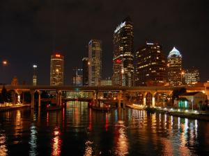 Nightly skyline of the city of Tampa, Florida