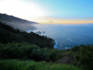 Blue and yellow sky in Big Sur (California)