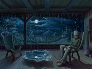 An alien sitting on the porch