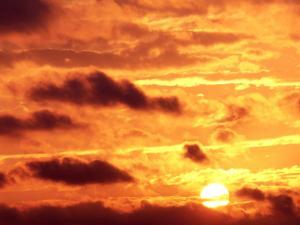 Dark clouds in a sky of fire