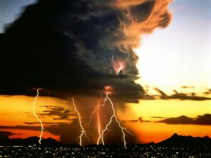 Lightning storm over the city