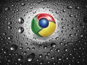 Google Chrome logo splashed with water droplets