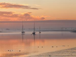 Sunrise on a beach in Maldon (Essex, England)