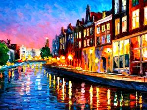 Canal full of lights and colors