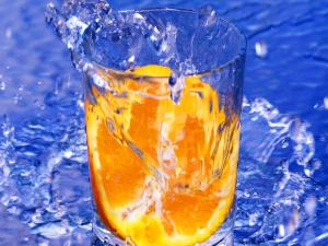 Orange in a glass of water