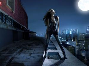 Levi's girl on the roof, on a full moon night