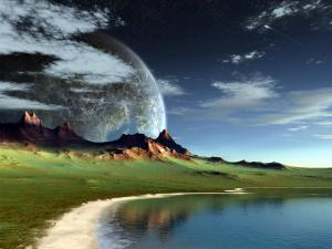 Sea and mountain on a nearby planet