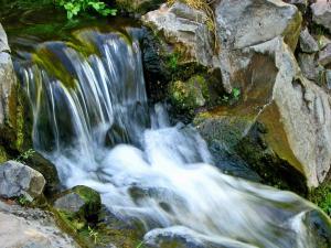 Water running down the waterfall