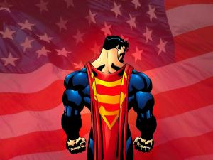 Superman with the american flag in background