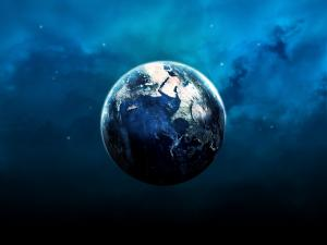 The Earth floating in the Universe