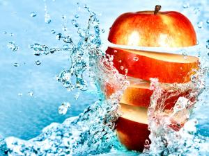 Apple cut in the water