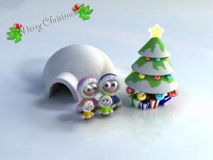Eskimo dolls next to a Christmas tree