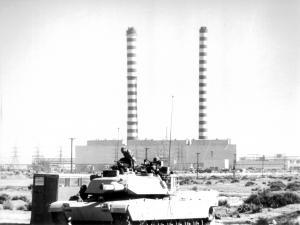 American tanks near the factories, in Iraq