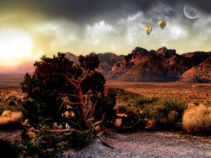 Balloons flying over the Grand Canyon (Arizona)