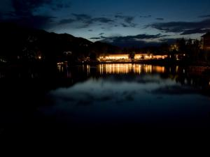 Nightly party on the shores of a lake