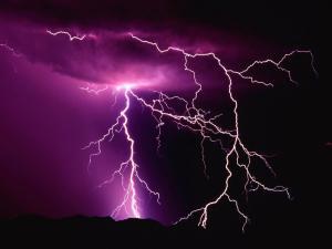Lightnings illuminating the night