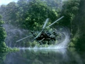 "Attack helicopter ""AH-64 Apache"" very near water"