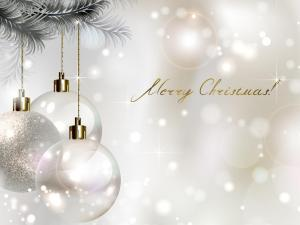 White balls announcing a Merry Christmas