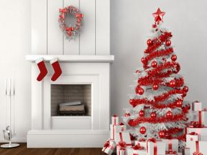 Fireplace and Christmas tree both white