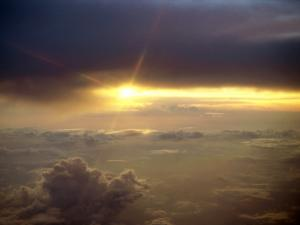 The sunlight over the clouds