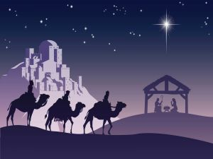 The Three Kings in road to The Bethlehem Portal to bring gifts to the baby Jesus