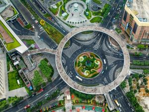 Pedestrian high roundabout in Shanghai