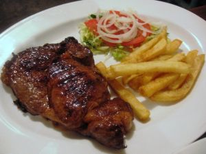 A steak with fries
