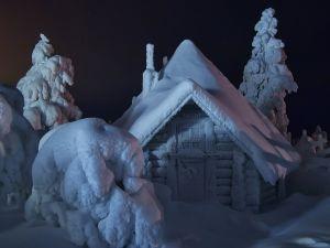 Snowy little house