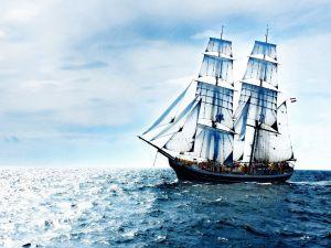 Sailing ship on the high seas