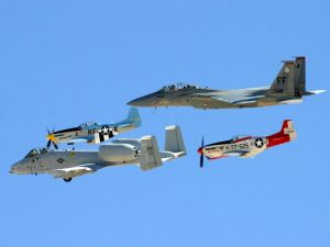 Very different aircrafts flying together