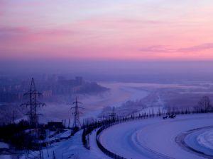A snowy city