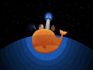 Living above an orange whale