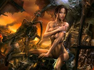 Naked girl in an apocalyptic future