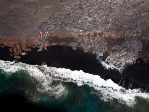 Lava rivers seen from the sky (Pahoa, Hawaii)