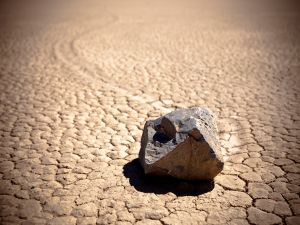 The trace of a stone in the desert