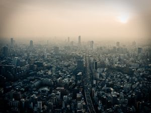 The polluted sky of Tokyo, Japan