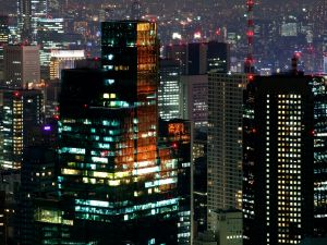 Night lights on a skyscrapers in Tokyo, Japan