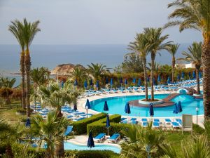 Pool of a luxury hotel on the seafront