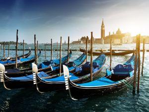 Gondolas in San Giorgio Maggiore (Venice)