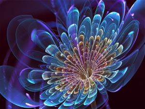 Semitransparent 3D blue flower