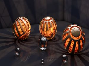Spheres with an orange light inside