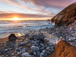 Sunrise at a rocky beach