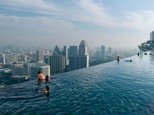 Pool on the roof of a skyscraper