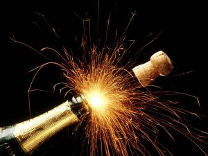 Explosion of light to uncork the champagne