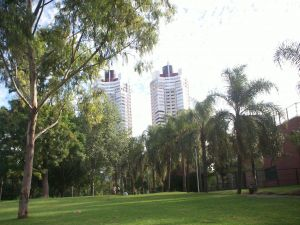Buildings near a park in the city of Buenos Aires (Argentina)