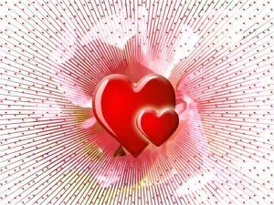 Hearts radiating love